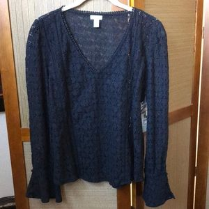 NWT HINGE BLACK LACE TOP BLOUSE SIZE S